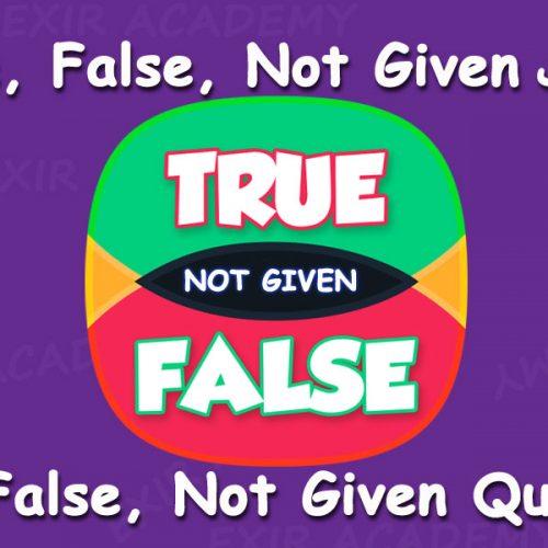 سوالات True, False, Not Given