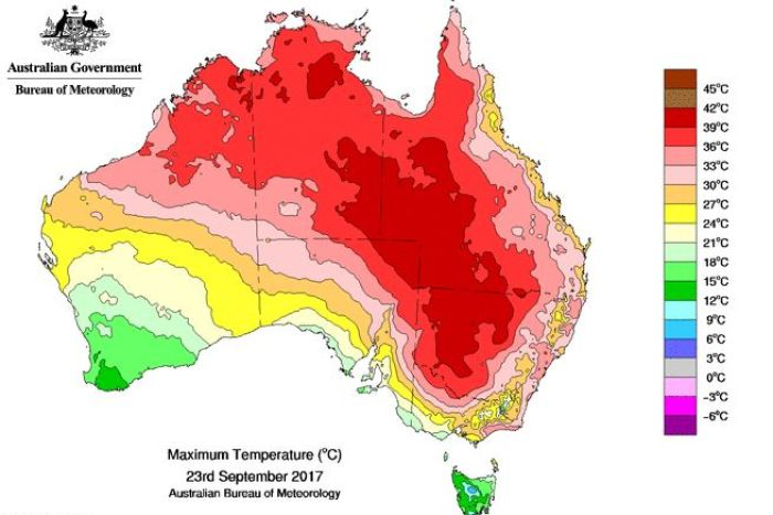 نقشه دمایی استرالیا